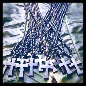 Jewelry - Hematite Cross Necklace- wo Trim